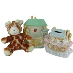 Noah's Ark Gift Set with Giraffe Plush, Frame & Bank