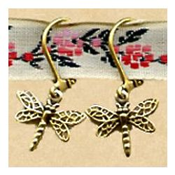 Antiqued Replica Brass Dragonfly Earrings