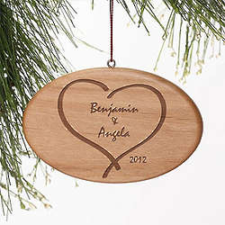 Together Forever Heart Personalized Wood Christmas Ornament