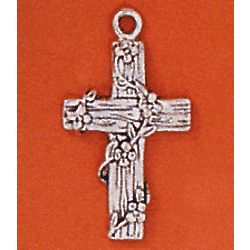 "Small Rustic Cross Pendant with 18"" Chain"