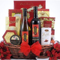 Festive Holidays Duet Gourmet Christmas Wine Gift Basket