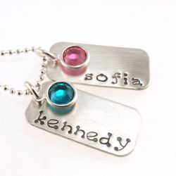 Fun Mommy Rectangular Personalized Stamped Necklace