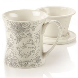 New Bone China Flower Design Tea Infuser Mug