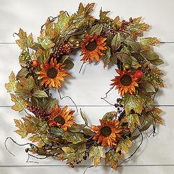 Sunflower, Berries and Acorns Wreath
