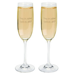 Personalized Graceful Glass Wedding Flutes