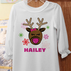 Christmas Reindeer Personalized Girls Nightgown