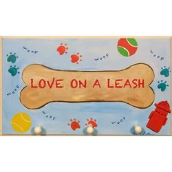 Blue Love on a Leash Plaque with Pegs