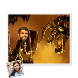 Demon Battle Caricature Print from Photo