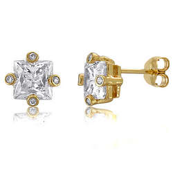 14K Gold Over Silver Vermeil CZ Solitaire Stud Earrings