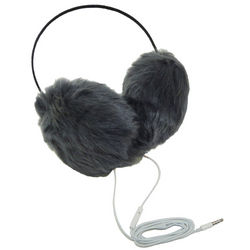 Grey Faux Fur Headphone Earmuffs