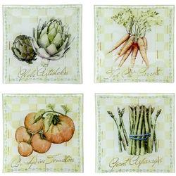 4 Vegetable Design Glass Serving Plates