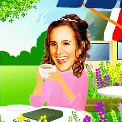 Your Photo in a Tea in the Garden Caricature