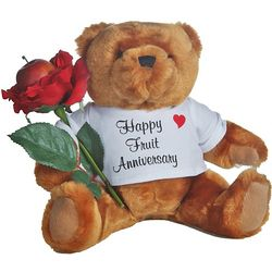 4th Anniversary Teddy Bear with Fruit Rose