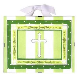 Baptism/Christening Record Print in Green Stripe