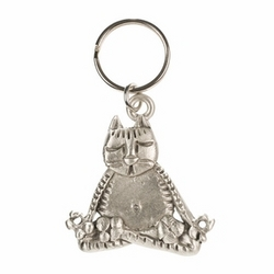 Meditating Lotus Cat Key Ring