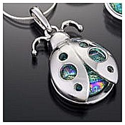 Dichroic Glass Ladybug Necklace