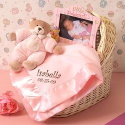"Personalized ""Sleepy Time Bear"" Baby Girl Gift Basket"