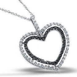 White and Black Diamond Two Hearts Pendant in Sterling Silver