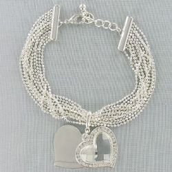 Silvertone Bracelet with Crystal Heart Charm