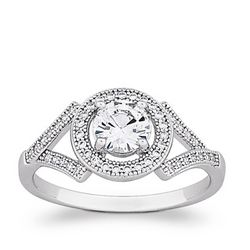 """Sterling Silver Solitaire """"V"""" Cubic Zirconium Ring"""