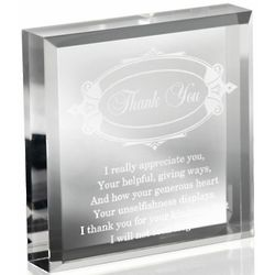 Engraved Thank You Paperweight