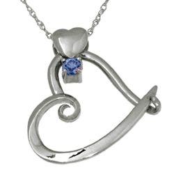 Sterling Silver Heart Slider September Birthstone Pendant