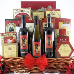 Festive Holidays Trio Gourmet Christmas Wine Gift Basket