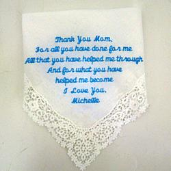 """Thank You"" Personalized Wedding Hanky"