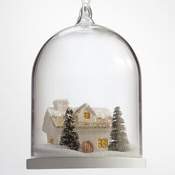 Snowy House Glass Globe Ornament