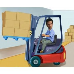 Fork Lift Operator Custom Caricature Art Print