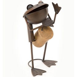 Drummer Frog Iron Garden Ornament
