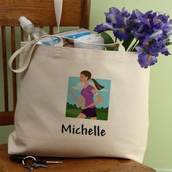 Workout Girl Personalized Tote Bag