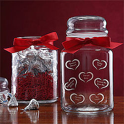 Personalized Conversation Hearts© Candy Jar with Hershey's Kisses