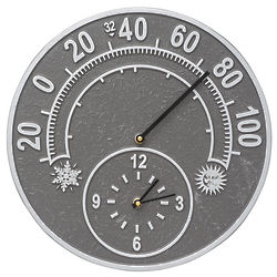 Solstice Indoor or Outdoor Thermometer and Wall Clock