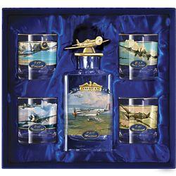 WWII Aviation Art 5 Piece Decanter Set