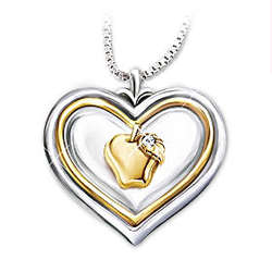 Hearts of Learning Heart-shaped Diamond Pendant Necklace