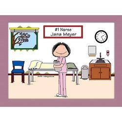 Personalized # 1 Nurse in Scrubs Cartoon Print