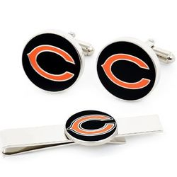 Chicago Bears Cufflinks and Tie Bar Set