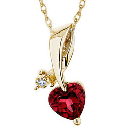 10k Yellow Gold Created Ruby Heart Pendant with Diamond