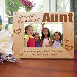 Personalized World's Coolest Aunt Picture Frame