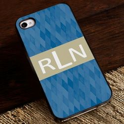 Blue Diamonds iPhone Case with Black Trim