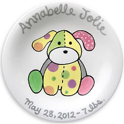 "Precious Pup Girl's Personalized 8"" Birth Plate"