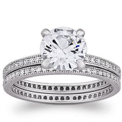 Majestic MicroPave CZ Sterling Silver Wedding Ring Set