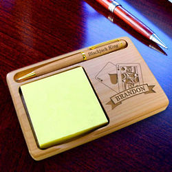 Personalized Blackjack Wooden Notepad and Pen Holder