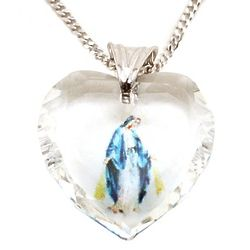 Our Lady of Grace Swarovski Heart Pendant Necklace