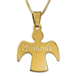 Gold Plated Guardian Angel Name Pendant