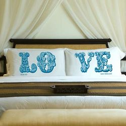 Personalized Bliss Blue Love Pillowcase Set