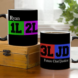 Law Student's Personalized Black Handle Coffee Mug