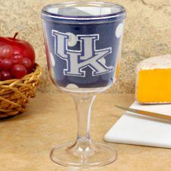 Kentucky Wildcats Polka Dot Wine Goblet