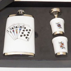 Porcelain Playing Cards Design Flask Set